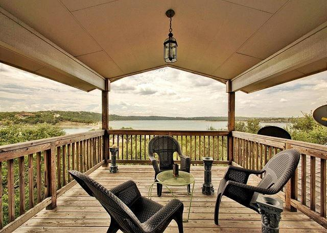 Incredibly rare opportunity to own a waterfront home on Lake Travis under $600k. Property has always maintained abundant water access. Close to Lago Vista/1431, Cedar Park/Leander. Views for miles from living room, master bedroom, and upstairs bedroom and two large covered patios. Private flat play/yard area between house and Lake Travis.  Functional plan - large Living/Dining/Kitchen space on main level that takes advantage of views from oversized patio. Master on main level.