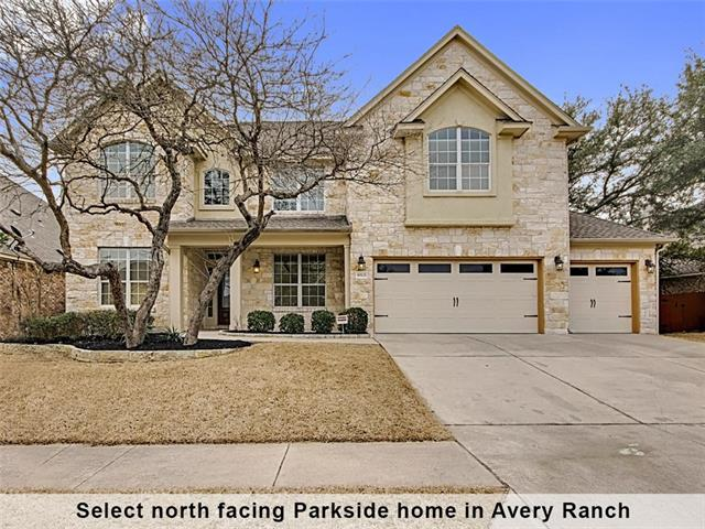 Beautiful north-east facing home in Parkside of Avery Ranch. One of the most popular Morrison floor plans with 4 bedrooms plus game room and media room that could be used as a large 5th bedroom. High ceilings and a wall of windows in the family room. People love this floor plan for entertaining with an open floor plan from the living area to the kitchen and breakfast room. Granite and stainless steel appliances in the kitchen. Master downstairs, formal dining room and dedicated office. New Carpet!!