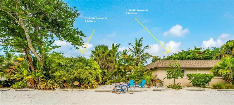 RMF Zoning – 9.1% CAP - 4 Units - Island Style, Cottage Charm, Crescent Street Beach Cottages located on highly desirable Siesta Key – just steps to the world renowned #1 Beach in the US, Siesta Key Beach! RARE – Zoned RMF for LEGAL DAILY RENTALS! Inspired by the beautiful quartz sand, lush tropical hues & azure blue waters of the Gulf of Mexico; these cottages are an aggregate of 4 units in 2 buildings. You won't find another opportunity for TWO buildings, each with TWO Cottages, each Cottage with TWO Bedrooms, TWO Bathrooms, & each building has its OWN Private, Heated pool, Private Lanai area & each cottage has Private Laundry. Crescent Street Cottages offer a move-in-ready, Fully Furnished, Updated opportunity to own an Investment Property brimming w/charm. Nestled on Crescent Street, these classically styled cottages perfectly frame the tropical landscaping & delightful curb appeal. Modern comforts of the cottages include eat-in kitchens, Open floor plan, tile floors wall-to-wall, a formal Master with large closet; lives large – highlighted with an abundance of natural light – these are bright & sunny cottages near the sea's edge. The pool area offers views of the private, fenced yard – an oasis of delicious calm & quiet: the ideal sport for relaxing or entertaining friends & family. Currently Managed by a Prof. Property Manager, contact LA for Income Statement info. Buildings also being offered separately for $895,000 each 1119/1121 MLS # A4414393 1123/1125 MLS # A4414438