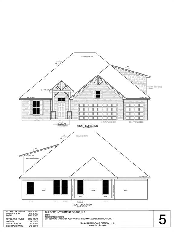 You won't want to miss out on your chance to own this beautiful New Construction home in Norman! This open floor-plan is sure to give you all the space you could ask for with multiple options and can be up to a 5 bedroom with the flexible spaces that are offered! The living room showcases a center fireplace and large windows allowing natural light to flood the room. The 4th bedroom would also make a great home office!  Spacious primary bedroom is complete with tray ceilings and a private en-suite including a double vanity, soaking tub, walk in shower, and walk in closet. Relax under the covered patio in the sprawling backyard. The backyard will include a wood fence to the back corners of the home. The bonus room is a great flexible space that could also be another bedroom with a closet and convenient powder bath! This home is a must see!
