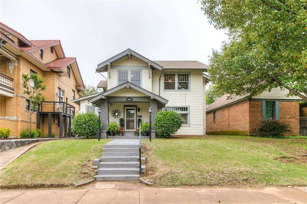 Beautiful Historic 1910 home located in the highly sought after Mesta Park District.  Minutes from Downtown, Paseo, Plaza District, Midtown,& OKC Medical facilities.  Updates: 2020 Interior Paint; 2017 Heater 1st Floor Zone, Heat & Air 2nd Floor Zone. 2014 Water Heater; 2013 Roof;2011 1st Floor AC. Updated Kitchen with quartz counter tops & Water Purifier. Features: beautiful hardwood floors, split stair case, ground level laundry, Front & Back covered Porches. 3 Bedrooms upstairs, Master with large Dressing room/Custom Closet. 4th Bedroom is ground level currently used as a STUDY.  Back yard parking area w/ 12x8 storage shed, w/access from driveway or alley.  3rd Floor unfinished 28x10 used as storage area. Original MOCK FIREPLACE has gas supply, behind Freestanding Electric Fireplace(which remains w/ home). Questions:Preservation District's regulation of any changes to LOT/HOME EXTERIOR: Angel Yetter, w/OKC Historical Society 297-1831.