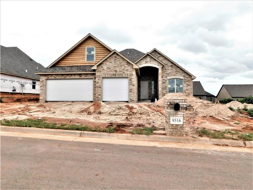 New home under construction in up and coming neighborhood in Mustang school district. Beautiful woodwork throughout the home and exquisite custom built fireplace.  This home is  3, 4 or 5 bedrooms or use the 4th as a study and 5th as a bonus room, 3 full bathrooms  (one bathroom upstairs) 3 car garage with side entry door and large yard.  Wood look ceramic tile floors are in all rooms except bedrooms and bonus room, center island w/breakfast bar and countertops has 3 cm. granite, built-in stainless steel with black accented appliances, mud bench and separate laundry room off of garage entrance.  The neighborhood has a castle like pavilion, playground, fishing pond, soccer and baseball field. Property tax is estimated. Buyer to verify.