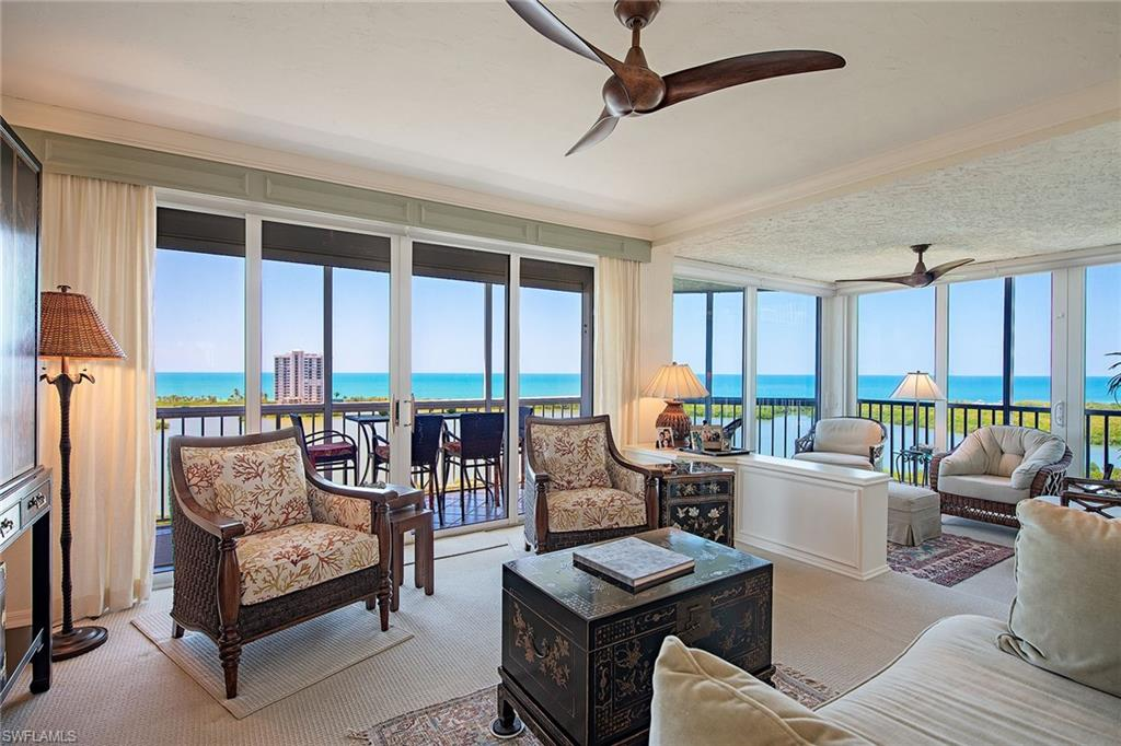 Enjoy panoramic views of Clam Pass and the Gulf of Mexico from this 12th floor St. Tropez residence in Pelican Bay. This SW exposure gives you stunning sunsets plus the twinkling lights of Park Shore and city at night. Encompassing 1,274 square feet under air, this charming residence is neat as a pin and features granite countertops, crown molding, impact glass and is being offered partially furnished. St. Tropez is a low density building with only 52 units and recently renovated lobby and common areas. It offers its residents secured entry, on-site building manager, fitness center, pool/spa, tennis courts, social room with billiards and kitchen, library, bicycle storage, one deeded parking space, additional storage and guest rooms for overflow visitors. The tram is conveniently located nearby and will take you to the beautiful beaches and the beachfront restaurants. Stroll to Artis and Waterside Shops for entertainment, shopping and dining.