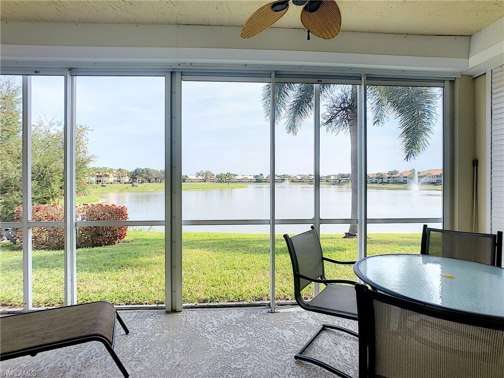 Bundled Golf at its Best! Being offered turnkey with a 1 year home warranty. Fabulous location on a quiet street with a spectacular lake and golf course view from the enclosed lanai. No golf cart path outside your lanai, so lots of privacy. This three bedroom (one is currently used as an office) is an end unit with lots of natural light. Eat in kitchen plus a formal dining room is great for entertaining. The resident exit is in close proximity so no long drive through the community. Worthington is an amenity rich bundled golf community with a newly renovated golf course! The active tennis program offers play for every level and has a seasonal pro. Bocce, fitness center, poolside cabana, clubhouse offering dining, dances, cards, trivia, mah jongg the list could go on! Close proximity to the airport, shopping, dining, entertainment and the spectacular gulf beaches.