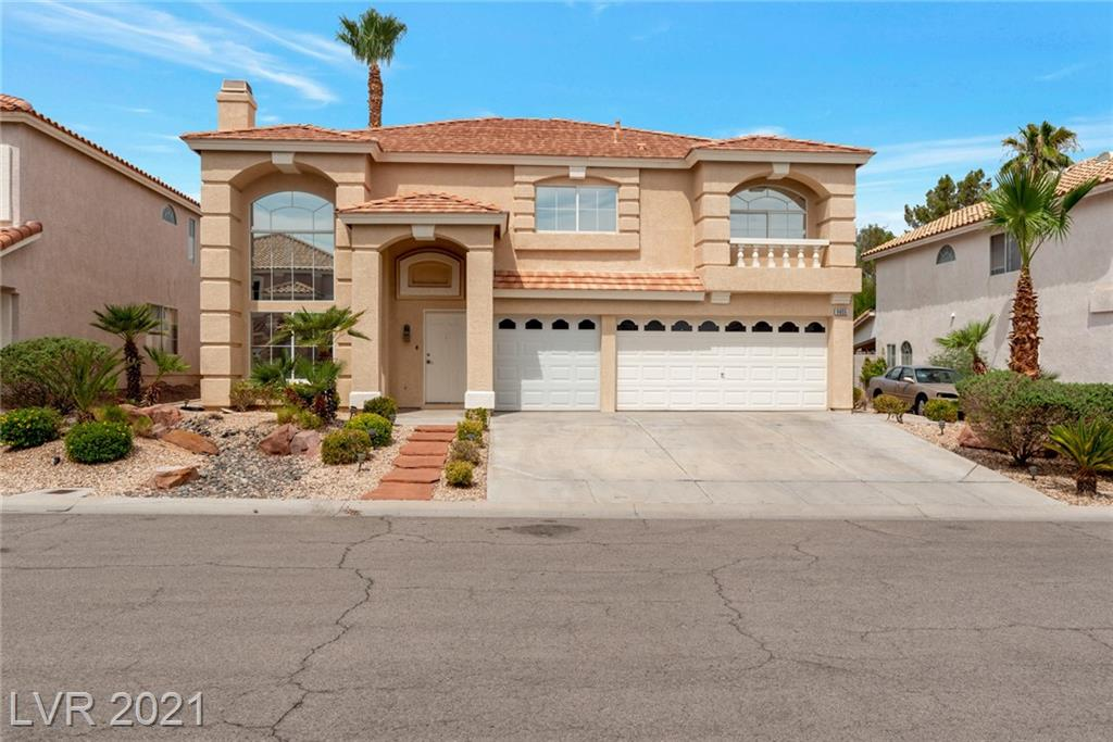 """WELCOME HOME TO 9655 SUMMER CYPRESS! ENJOY THE LAS VEGAS HEAT IN YOUR REFRESHING POOL! THIS TURNKEY, 2 STORY, 4 BEDROOM, 2.5 BATHROOM HOME HAS BRAND NEW CARPET ON THE STAIRWELL, NEW TWO TONE PAINT, AND TILE & NATURAL WOOD FLOORING THROUGHOUT. AN ABUNDANCE OF NATURAL LIGHT WELCOMES YOU UPON ENTRY  WITH VAULTED CEILINGS, CEILING FAN & FIREPLACE.  SEPARATE FAMILY ROOM OFF THE KITCHEN WITH ANOTHER CEILING FAN & FIREPLACE. TASTEFUL KITCHEN FEATURES GRANITE COUNTERS, WHITE CABINETS, STAINLESS STEEL APPLIANCES & BREAKFAST BAR. MASTER BEDROOM FEATURES A RETREAT, CEILING FAN, 8"""" CROWN MOULDING, OVERSIZED WALK IN CLOSET, ENSUITE WITH DUAL VANITIES, AND SEPARATE GARDEN TUB AND SHOWER. ADDITIONAL BEDROOMS UPSTAIRS ARE SPACIOUS ALL WITH CEILING FAN/LIGHT. ENJOY PEACEFUL LAS VEGAS NIGHTS UNDER COVERED BACK PATIO AND ENJOY THE VIEW OF EASY TO MAINTAIN DESERT LANDSCAPING AND STUNNING POOL.  SHOPPING VERY CLOSE BY. HURRY! THIS HOME WILL NOT LAST."""