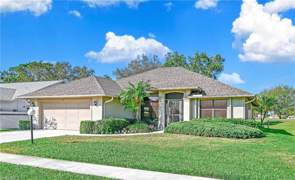 This extremely well maintained 3BR/2BA home was built in 1997 and has 1,775 S/F under air. It sits along the adjacent public golf course and is being sold Furnished. Inside, Vaulted Ceilings create a bright and open feel, and the kitchen has been updated with quartz countertops, refaced cabinets and a reverse osmosis water system. Split bedrooms give maximum privacy when guests visit, the master bedroom has a tray ceiling with crown molding, and there are dual closets. With a Newer Roof (2017), and a Newer A/C (2019), there is also a Well that saves money on lawn watering costs. The home has a screened front porch, a screened lanai and an open patio, enhancing both your indoor and outdoor living experience.  Riviera Golf Estates, a quiet and friendly 55+ community, is just a short drive from Downtown Naples, Beautiful Beaches, Great Shopping and many Fine Dining options. Amenities include a New Pool with lap lanes (about to go in), Exercise Room, Tennis/Pickleball courts, and a huge Clubhouse where lots of fun social activities are held. With an HOA fee of just $95/mo. (includes your basic cable) - this Home, at this price, is undoubtedly one of the best deals in all of Naples.