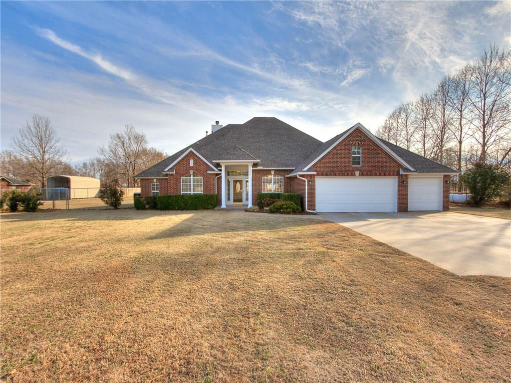 This fenced two acre property in West Norman is everything you'll want in the country but less than ten minutes to I-35, the Healthplex and shopping. With three bedrooms, a study, living room with brick fireplace, two dining areas and upstairs bonus/theater room, there's space to spread out inside as well! Interior updates include new paint, flooring, lighting and hardware as well as Master Bathroom remodel to include gorgeous free standing tub and frameless glass shower. Outside you'll find a freshly painted exterior, three car garage, storm shelter, two exterior storage buildings include small carport, brand new aerobic septic system and water softener, free standing hot tub and OEC fiber is now available! HOA allows for owner to have one livestock on the property. Seller including Home Warranty with property! Agent is related to Seller.