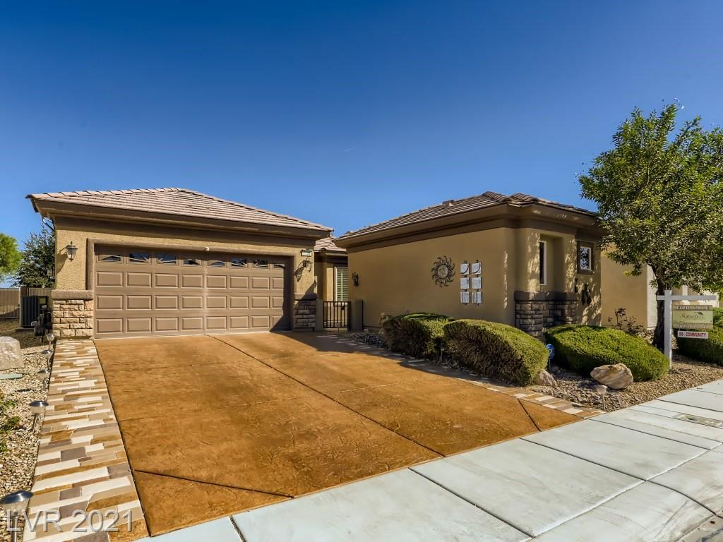 Beautiful single story home in the Golf Course Community of Sun City Aliante. A mature 55+ community that supports an active lifestyle and has a number of amenities to enjoy Every Day of the Week. This Laurel Model has a lot to admire. Freshly painted with 2 Spacious bedrooms with 2 Bathrooms and a den and all rooms are separate. Master has LARGE walk in closet, oversized shower and double sinks. Great for entertaining, is an open kitchen that overlooks the dining area and living area. Shutters throughout, slider leading to a private low maintenance, fenced backyard w/ covered patio. Casita with off the private courtyard detached from the main house with private bathroom. ADD HOME FEATURES: Separate laundry area w/ sink, Garage w/ storage cabinets, Solar panels, Whole house water system, Tank-less Water heater & much more . COMMUNITY HIGHLIGHTS: Swimming Pool, Spa, Computer Room, Full Social Calendar, Tennis, Newly renovated community center and more. Don't let this Beauty get away!