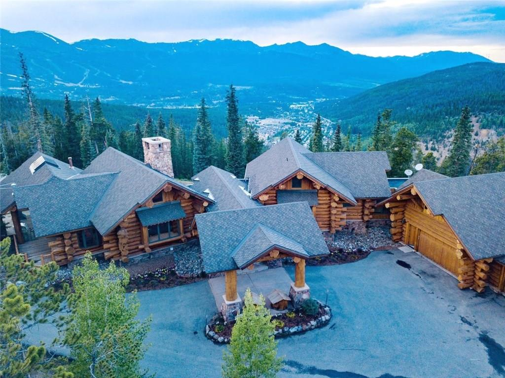 A one of a kind vaulted luxury log masterpiece crafted from huge Pioneer Log Homes logs imported from Canada & featured on the Discovery Channel. This stunning residence is perched on 46 subdividable secluded acres only 4 mi from Main St Breckenridge with 270 degree views of the Great Divide, Breck Ski Area, and Gore Range. The giant logs, broad views, privacy, 2 story glass enclosed scenic BBQ deck, and development potential make this an elite investment property or corporate/family compound.