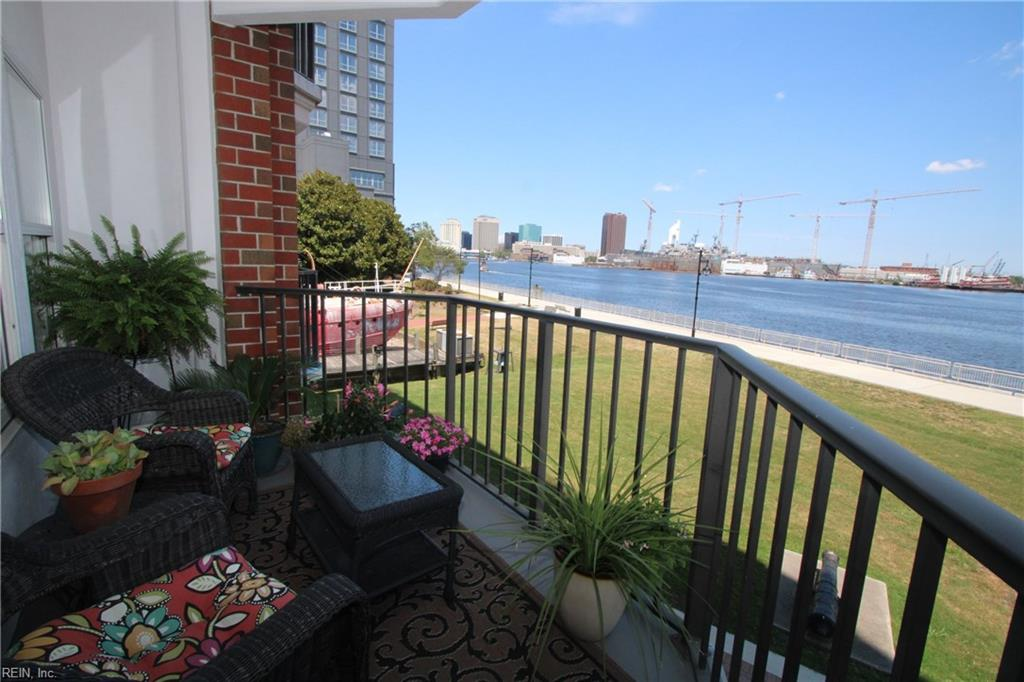 Welcome to this cozy and spacious 2 bedroom, 2 bathroom condominium that's nestled right on the Elizabeth River. This unit has NEW dark stainless steel appliances, LifeProof vinyl wood plank flooring, NEW granite countertops, LED lighting, dual balconies, full washer and dryer hookup, 2nd deck parking and entry for easy access. You can enjoy cozy nights on the balcony with clear sights of the Norfolk's Waterside and all of the ships that navigate the river. Easy walking access to all of the Olde Town eateries, shops and bars.