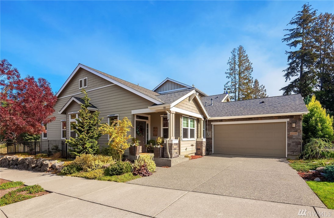 """This Sammamish plan home has been tastefully and totally updated with many extras added! This one is beyond exceptional with an ideal location ~adjacent to natural preserve area & a pond.All flooring is new-7"""" white oak or carpet.Kit redone w/white cabinets &Quartz counters, finished island, mood lighting above cabs & counter lighting, black on black appliances, gas stove. Custom closets, interior paint, AC, central vac, whole house air purifier, deck, fenced yd.Insulated garage w/attic storage."""