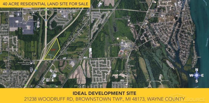 Site is level and at street grade with minimal obstructions and ready for development.  Newer homes, built after 2014 in this area are currently being sold at an average and median of $135 to $142 per square foot. New home sold prices ranging from $224,000 to $375,000. Median cumulative days on market 76.  Existing scenic bike/walking path in place along Woodruff Rd which connects to the Lake Erie Metro Park, golf course and wild life refuge. The Property is located 1 mile from Lake Erie & Lake Erie Metro Parks, Marina, Detroit River International Wildlife Refuge, Golf Course. Newer commercial shopping center district on Gibraltar Rd, 1 mile north includes Kroger, and all supporting retail needs. Direct access to I-75 on Gibraltar Rd 1 mile north and Huron River Drive 1 mile south. Award winning Gibraltar High School & Middle School located on Woodruff Rd one mile east.