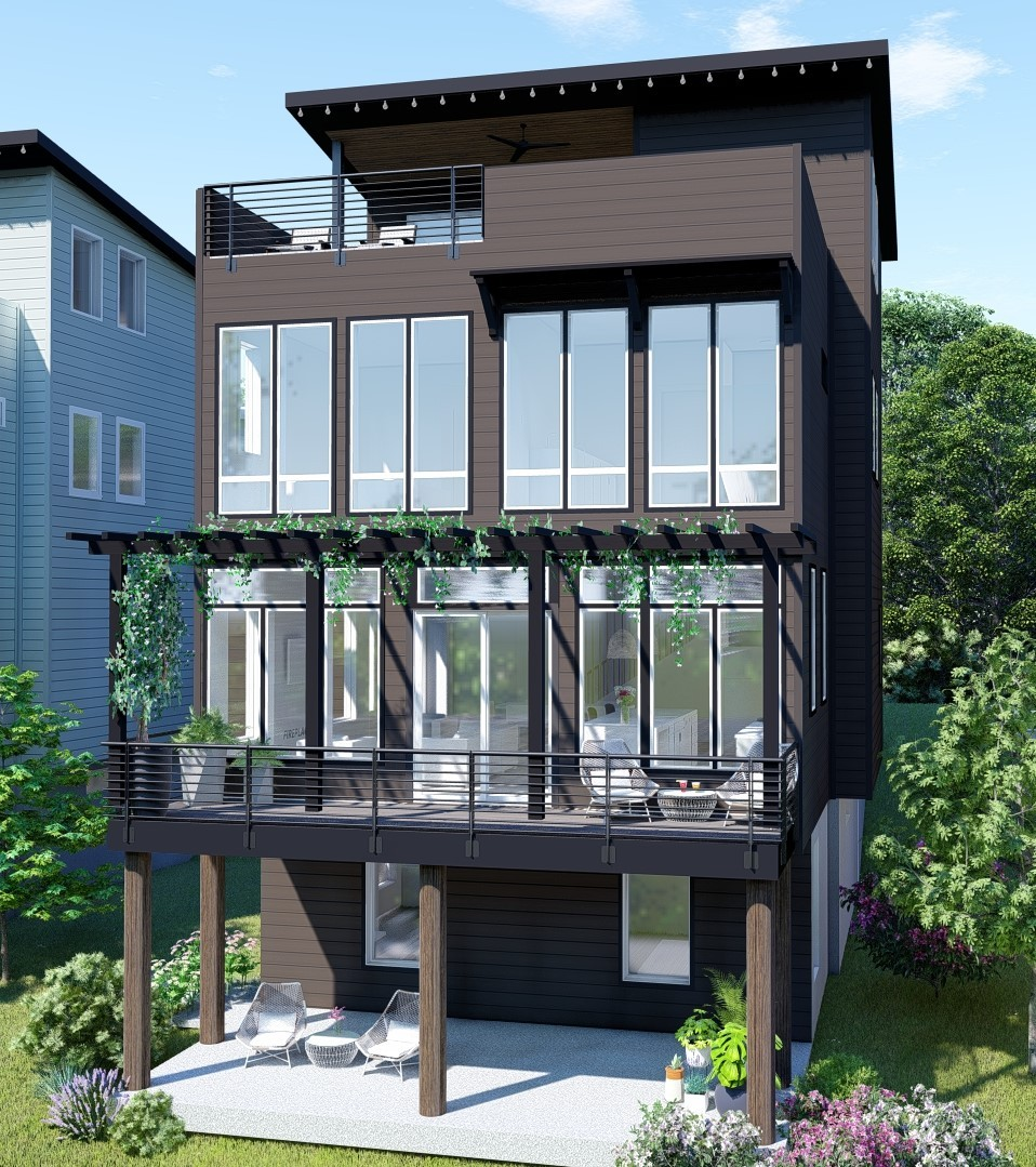Come live in this Treehouse community! Eco Friendly with a entertainer's rooftop deck. Green roof and living walls.  Interior storm shelter included. Attached Airbnb/income producing or MIL suite. Customizable.  Views of downtown and the Cumberland River.  Highly desirable area that is just a short bike ride to Shelby Park.  You don't want to miss out on this development.