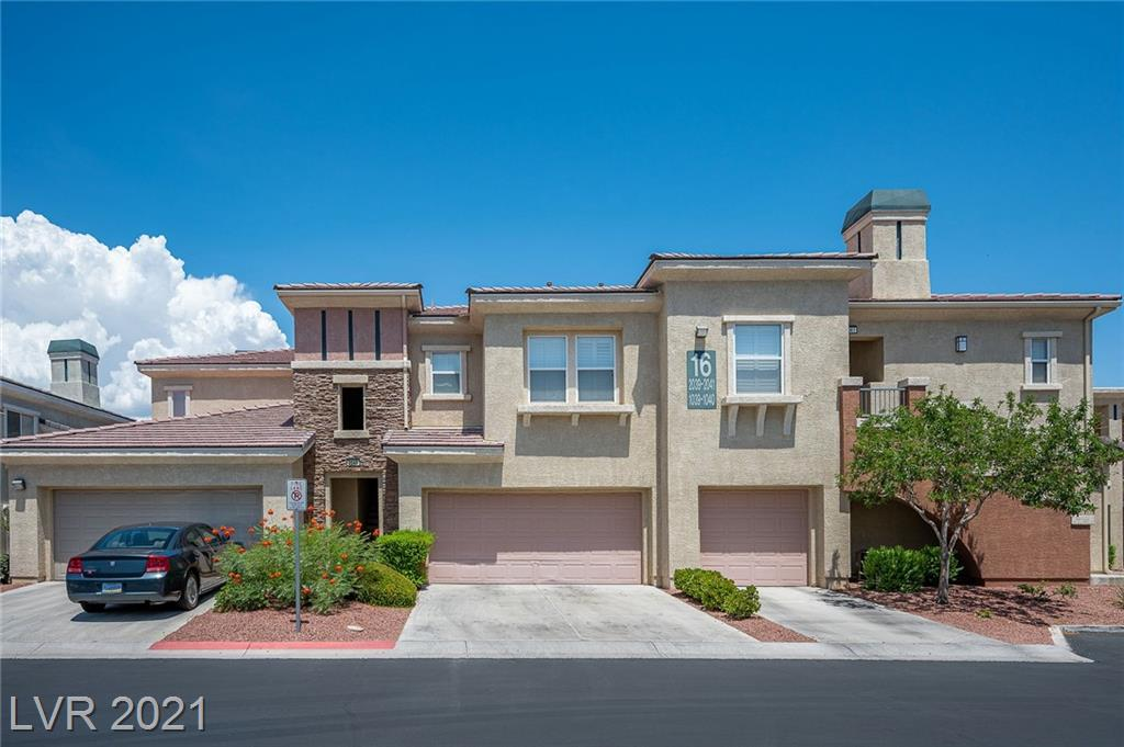 This truly massive 2 bedroom, 2 bath condo with attached 2 car garage in the Garden Park neighborhood of Summerlin will not disappoint. The additional den provides functionality and versality to accommodate every need for living space. The original owner has taken great care of this home and it shows throughout. The next owner will enjoy a spacious and immaculate interior and a tranquil, private covered patio on the exterior. Make note of the tremendous added value with the new air conditioning system installed this past May as well as the reverse osmosis system which was added last year. Gated grounds and community amenities including pool, spa, BBQ area, and exercise room complete this picture perfect setting.