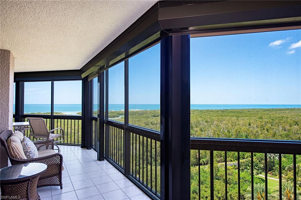 Sweeping views of the Gulf and Clam Pass. Beautiful two-bed, two-and-a-half-bath residence at The Grosvenor. Spacious split bedroom plan for maximum privacy. The master bedroom is large enough for a sitting area or desk. The master bath includes a wonderful spacious shower and two oversized walk-in closets. Newly painted. Granite countertops, an island in the kitchen and a pantry. Convenient bar in the dining area for entertaining. Pretty ceiling details. Views from every room. Closets galore. Electric shutters throughout. Enjoy the amenities of Pelican Bay in this lovely and friendly condominium building in a terrific location.