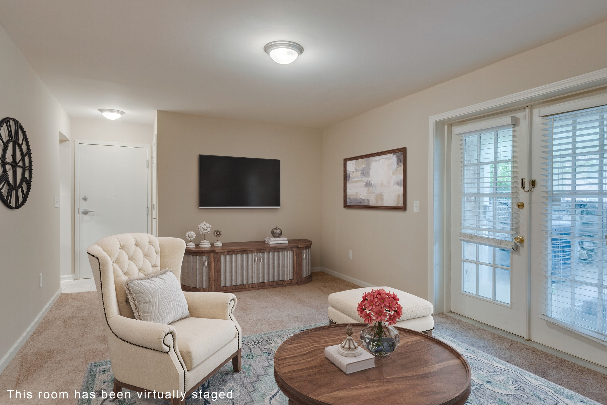 Superb Green Hills location and affordably priced! Completely renovated interior - new kitchen, bath, carpeting, HVAC, water heater. Just move right in! Charming stone walled patio overlooks a community area ripe for a friendly BBQ. Washer and dryer connections already in place.