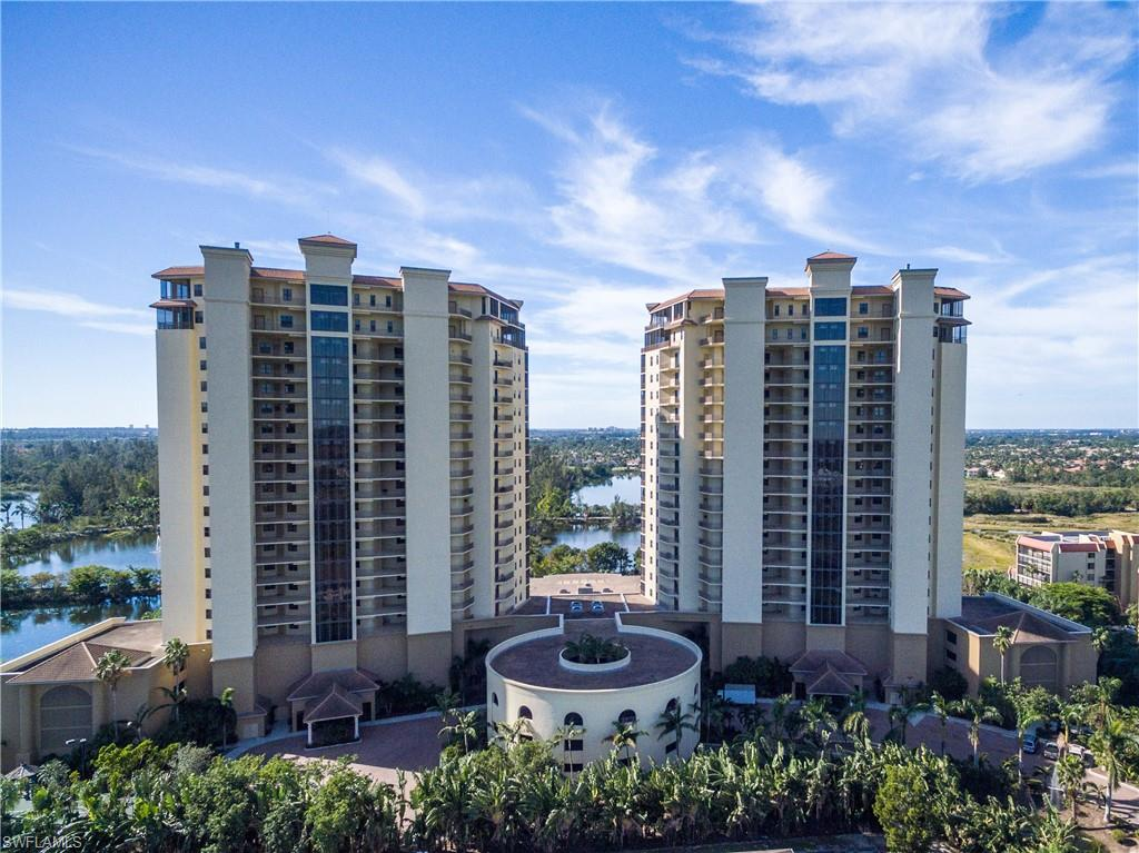 Rare Occasion & Opportunity to Invest in Paradise, a Furnished Penthouse in this Upscale Gated Community with a Lease-Back (see remarks). SW views overlooking approx. 300 acres of Lakes and preserve of the Lee County Regional Lakes Park & Awesome Sunsets from inside Screened Lanais & Open decks toward The Gulf of Mexico & Rivers views. (See Visual tour) 2 Huge Master Suites, an Ensuite, Den Study, Powder room, Open Huge Kitchen, Bar, Family Rm, Fireplace, Formal Dinning, & media room, & large Laundry rm. Very well maintained by1st Owner. Recent new A/C systems, Impact Windows & Doors, 2 parking spaces & extra storage & more. Amenities: Management on site, Lobby, Media Room, Club room w/Bar & pool table, State of the Art Fitness, Library, Disappearing Edge Heated  Pool & Spas, Cabana w/Grills, Boat dock & storage, & a direct walking or Biking into the Park. Only minutes to all Shopping, Restaurants, SWFL International Airport, Ball Parks, Hospitals, & the Sunny Beaches of Ft. Myers & Sanibel.