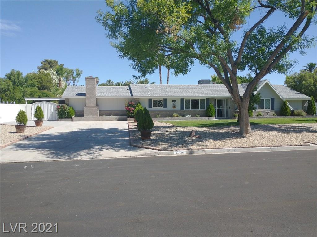 Pride of Ownership! Updated & upgraded 1 story home on .34 acre lot. Located in sought-after Paradise Crest. A community of mostly 1 story homes on huge lots with treelined streets, providing an inviting upscale atmosphere. Light & neutral decor, gorgeous hardwood floors, tile floors, white kitchen cabinets, granite countertops with modern waterfall edge breakfast bar, stainless steel appliances, 150 bottle wine refrigerator, updated baths, large open living room/great room, formal dining, breakfast nook, separate family room with fireplace and 10'x6' bar, 12'x26' sun room with evaporative cooling, window shutters, quality dual pane windows,  Stunning backyard features replastered inground pool, large & lush backyard, 14'x20' freestanding alumawood covered patio, manicured lawn, fruit trees, vibrant perimeter planting beds, landscape lighting, Covered enclosed carport, RV parking, large storage shed. This could be the home & amenities you've always wanted. Vintage Vegas at its best!