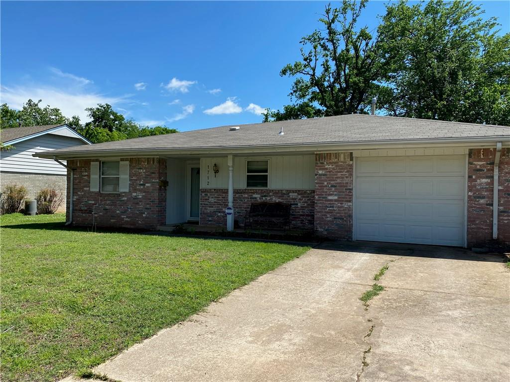 Nice starter home with amazing wood floors, living room opens to the large back yard that has an open patio area for enjoyable evenings in the backyard.  There is a storm shelter in the garage. Nice covered front porch to sit and have coffee in the mornings.