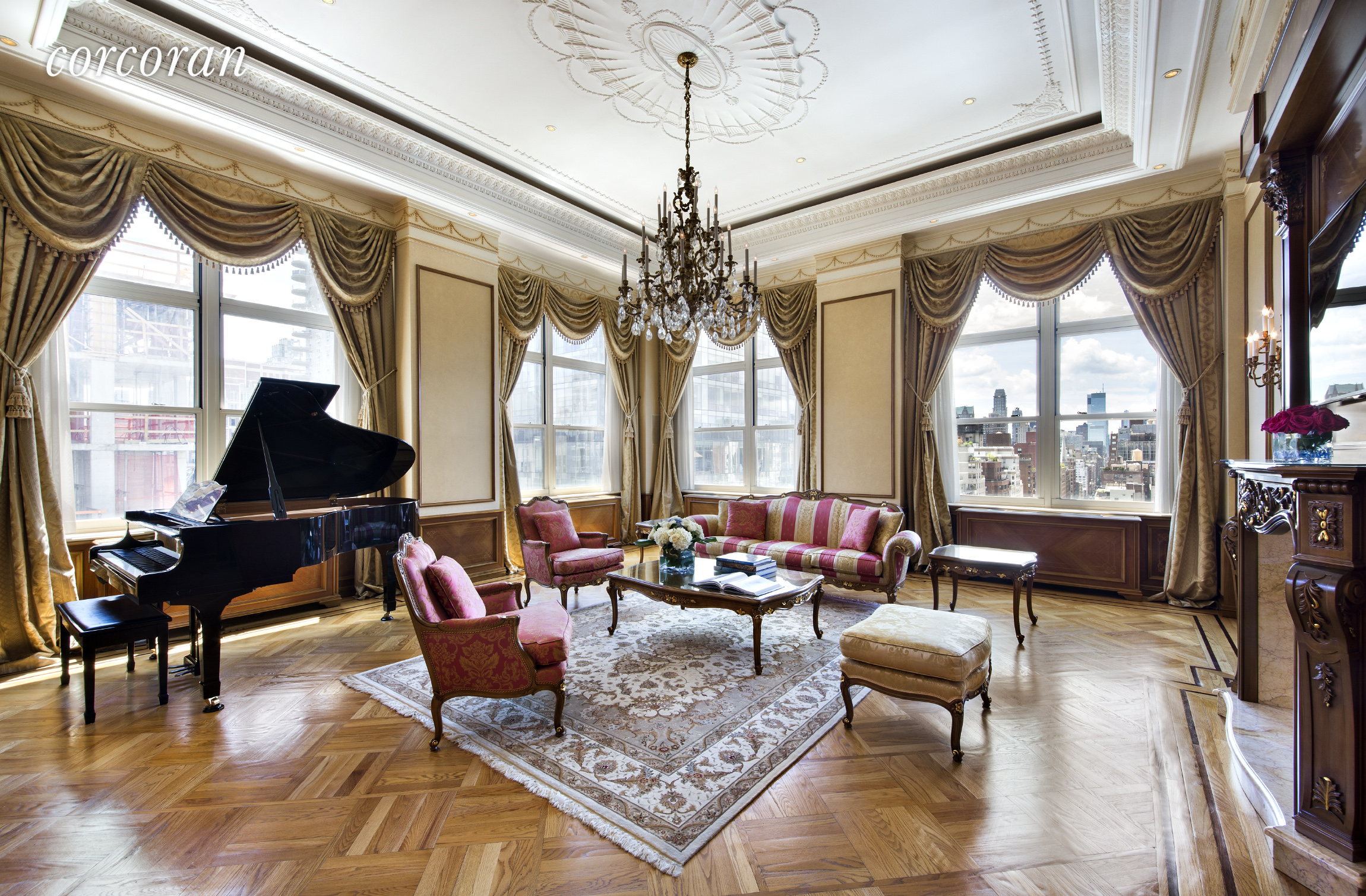 OPEN HOUSES NOT PERMEATED FOR AN APPOINTMENT CLICK SELLER  AGENT FOR AN APPOINTMENT TO VIEW! PARK AVENUE TOWER CONDO Spectacular view renovated 4 Bed , 3,5 Bath apartment This elegant, wonderfully proportioned eight room condominium is being offered for sale for the first time. The soaring nearly 14' ceilings throughout create an open and dramatic living space. The entry foyer leads into an opulent 24' x 20' living room with deep crown moldings and hand carved mantle above a decorative fireplace. Adjoining the living room is a formal dining room and chef's kitchen with high-end appliances, stained glass ceiling and fine furniture quality cabinets. The flow of these rooms is perfect for entertaining. Large oversized corner windows flood the apartment with light and provide open City views. Back past the entry foyer is a large gallery that leads into the sumptuous master bedroom suite with marble bath, dual sinks, shower and oversized soaking tub. A mezzanine level provides closet and storage space for the master suite. There is also a den which can easily be converted to a fourth bedroom with mezzanine level storage. Two more bedrooms with two full baths complete this wing of the apartment. The apartment also has a windowed home office. The apartment is 2822sf (approx.) plus  725sf (approx.) of mezzanine level. This beautiful apartment was designed by the renowned Italian architect Ezio Belotti, known for his work in Roman Orthodox churches, consulates, and embassies worldwide. The details of this outstanding home create a stunning backdrop to classic or contemporary décor and art collections. The Belloti team consists of highly skilled architects and interior designers. This historic company is admired around the world and has been creating their exclusive furniture collections since 1935. The Ezio Bellotti artisans have succeeded in maintaining and respecting history and tradition, while using cutting-edge technology in their interior designs. Park Avenue Court is 