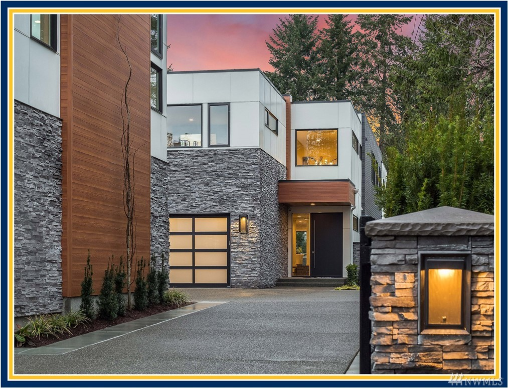 "Newly Completed - BDR Fine Homes presents a fresh new modern luxury home in the heart of Medina. Large gated property w/ complete privacy, situated on a quiet street. Walk to award winning schools, Medina Park, Green grocery store & beach. 4-car garage. Sunny & flat backyard. Covered outdoor room w/ heaters, fireplace, TV, BBQ. Signature GenSuite. Built by the BDR Team, a 3-time winner of the coveted Builder of the Year Award in the Puget Sound region & voted 425 Magazine's 2018 ""Best Builder"""