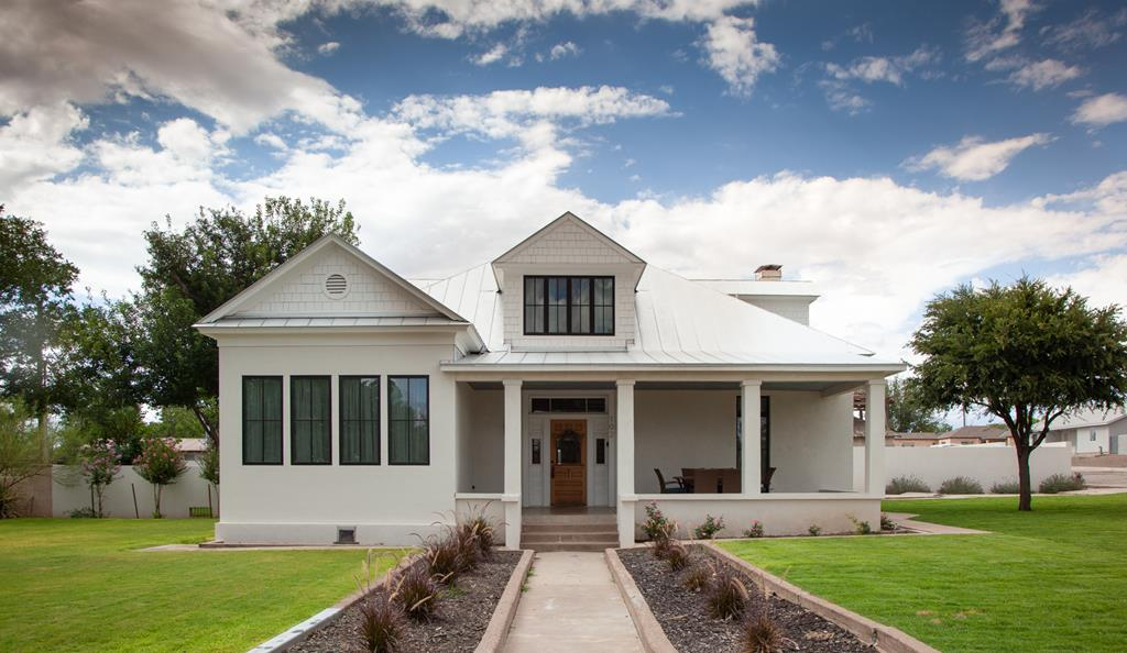The historic Holmes House has been exquisitely renovated! This elegant, historic, adobe home on 1/2 acre lot is unparalleled in Marfa-the best of the historic details w/ modern amenities & in-ground pool. Much of the original millwork, hardwood floors, high ceilings, & bead board ceilings have been preserved. Polished concrete, jetted tubs, industrial kitchen, & contemporary tile combine to make this the ultimate adobe! Dual HVAC, privacy wall, expansive zoysia lawn w/ irrigation system.