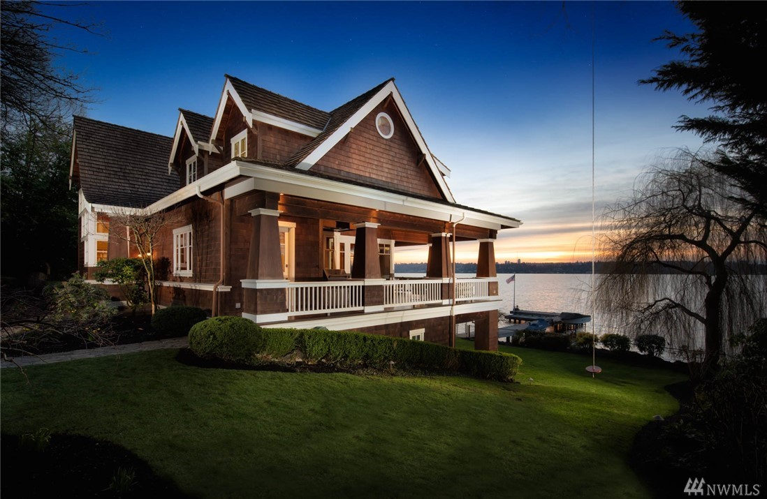 Vacation year round on the shores of Lake Washington.One of the most private & secure retreats along the lake, a rare waterfront treasure. From the auto courtyard w/Private Guest House, take an enchanting tram ride to a masterfully crafted beach house, great room living at its best w/unending views & just ten steps to the shore.Enjoy outdoor living on the covered wrap around deck,sweeping lawns,an impressive dock,125' of wft,stand-alone artist's studio & so much more.You'll never want to leave.