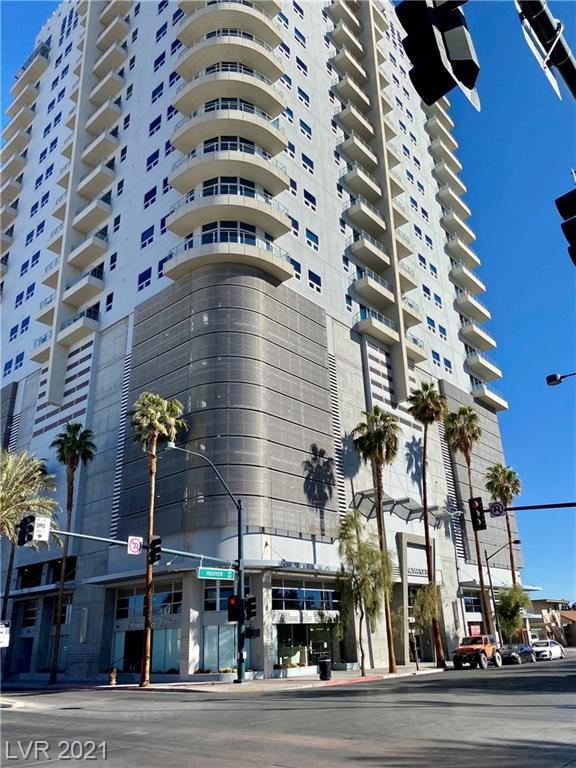 Enjoy luxurious High Rise/Loft living in the thriving downtown arts district. Imagine coming home & feeling like you are on vacation everyday. This modern loft features stunning views from the north Lanai of the Las Vegas strip & Sheep Mountains.  Located on the 8th floor of this 23 floor building is a studio loft, with built-in Murphy bed, granite counters, custom cabinets, stainless steel appliances, stackable washer & dryer. Two tone paint throughout. Master bath is in the middle of a slight face lift, new sink & faucet will be installed. Garden tub & separate shower.  This community boast a roof top pool & spa, 24 hour concierge, fully equipped exercise facility & garage parking & storage. Competitively priced unit, is part of a Bankruptcy Court Ordered Sale. This one just needs a few personal touches to make it your own.