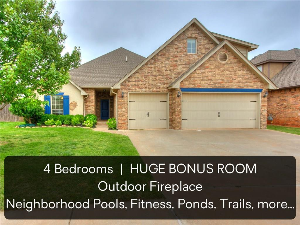 SPACIOUS BONUS ROOM - OUTDOOR FIREPLACE - AMAZING DEER CREEK NEIGHBORHOOD! This home in THE GROVE is just 70yds from the walking trail entrance, and a short stroll to 2 swimming pools, basketball court, soccer field, fully stocked ponds, more trails, 2 full fitness centers, 2 clubhouses, multiple playgrounds & onsite elementary school ...BOOM! Open floor plan with 4 downstairs bedrooms plus a generous upstairs bonus room (26x19ft) with half bath. Recent updates include NEW wood laminate floor in the living room, NEW carpet throughout, NEW interior paint, upgraded dishwasher with stainless interior, upgraded double oven with gas cooktop. The kitchen also features full-size pantry, wood beams & crown molding, granite countertops and breakfast bar overlooking the family room. Tucked away, there is a huge laundry room with granite counters & wash sink. Master Suite has tray ceiling with crown molding & cove lighting, plus walk-in shower, whirlpool tub & walk-in closet! Come see it today!