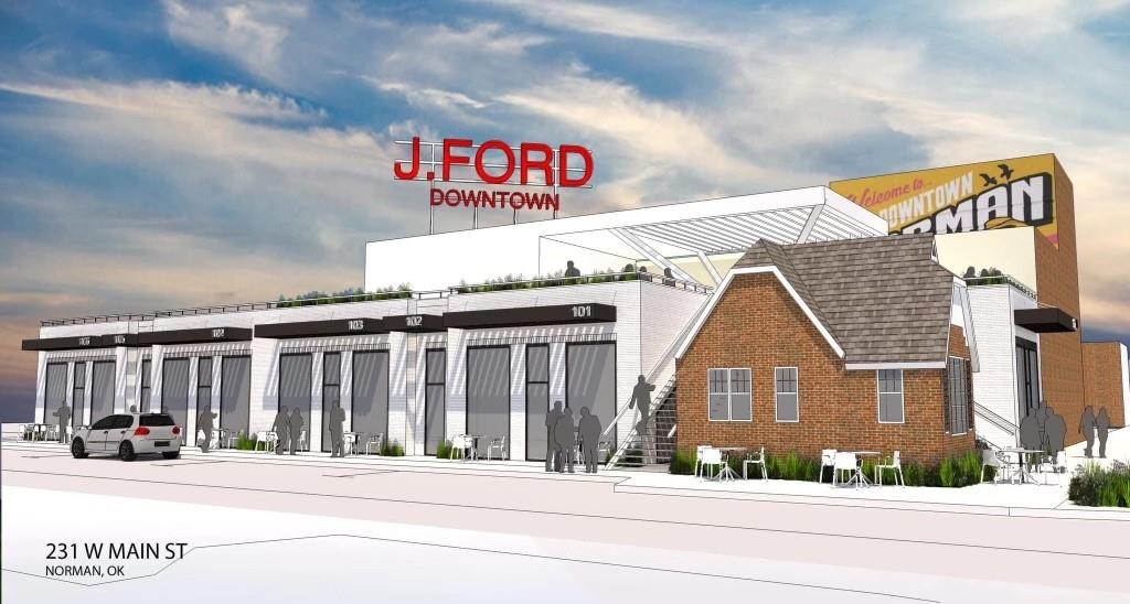 """Exciting opportunity for brand new commercial space in the heart of Downtown Norman! The J. Ford Downtown building is anchored by the historic building located at the corner of Main and Webster, the """"Cookie Cottage"""". Brand new, individual commercial bays will run along Webster behind the cottage with endless possibilities. In addition, there are plans for a rooftop bar area. Unit 5 is 1040 SF and fronts Webster. Min. 5 year lease, Full Service, All Utilities Included. White Box with 1 bathroom provided. Certain users may not have utilities covered, such as food service, salon, etc."""