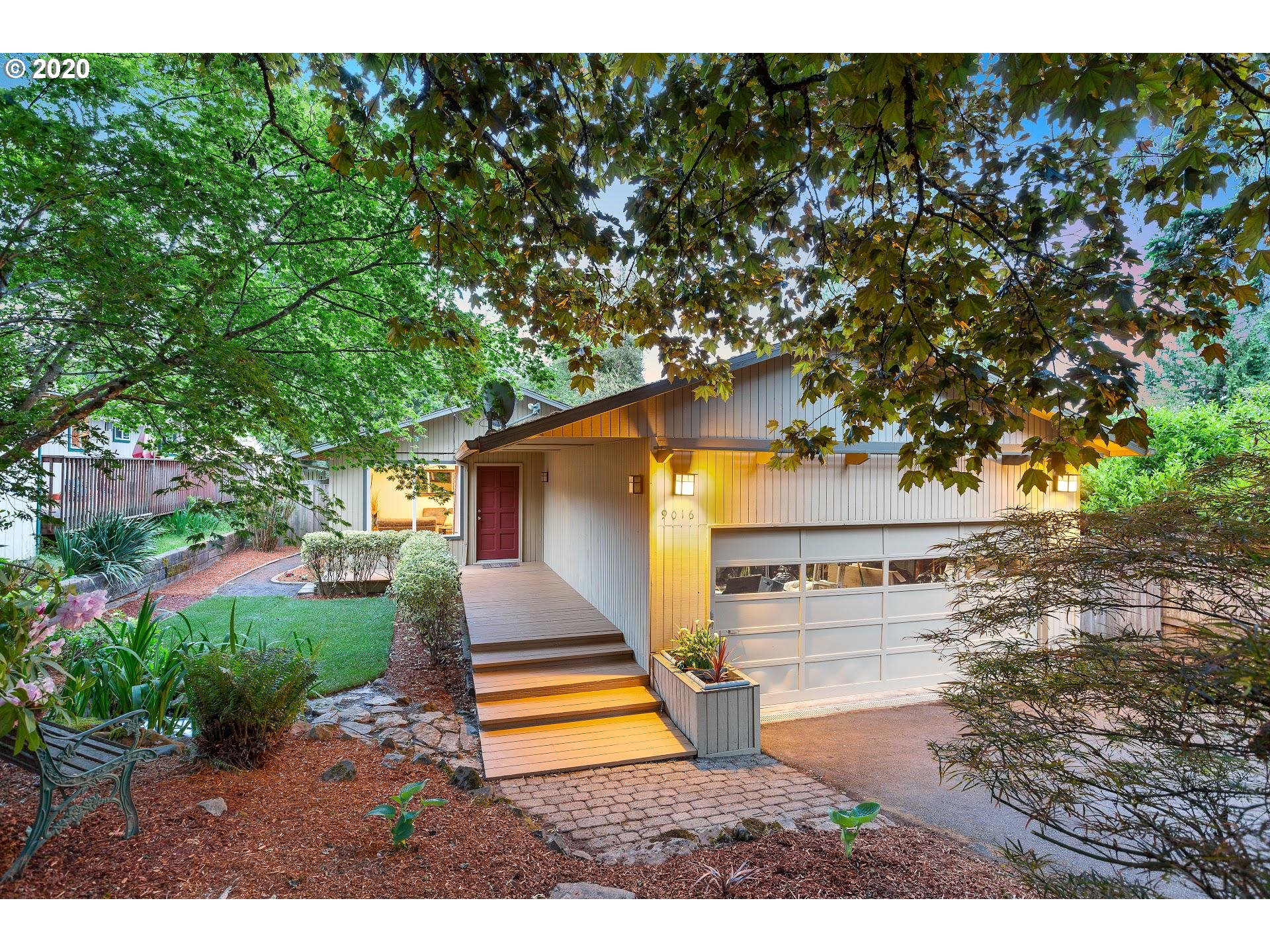 Almost $50k worth of love poured into this Urban Oasis remodel! Live simply & beautifully in this light filled home well situated on a fenced &  private lot. Flexible floor plan; bonus room w full bath for guests or live in family. One level living, raised beds for gardening, covered deck (35'x10') w/ hot tub, nearby parks + OHSU express bus route.  New 30 Year Roof (2020), full kitchen remodel (2016), paint/carpet, complete landscaping!  All appliances included. See Floorplan/3D Virtual tour!