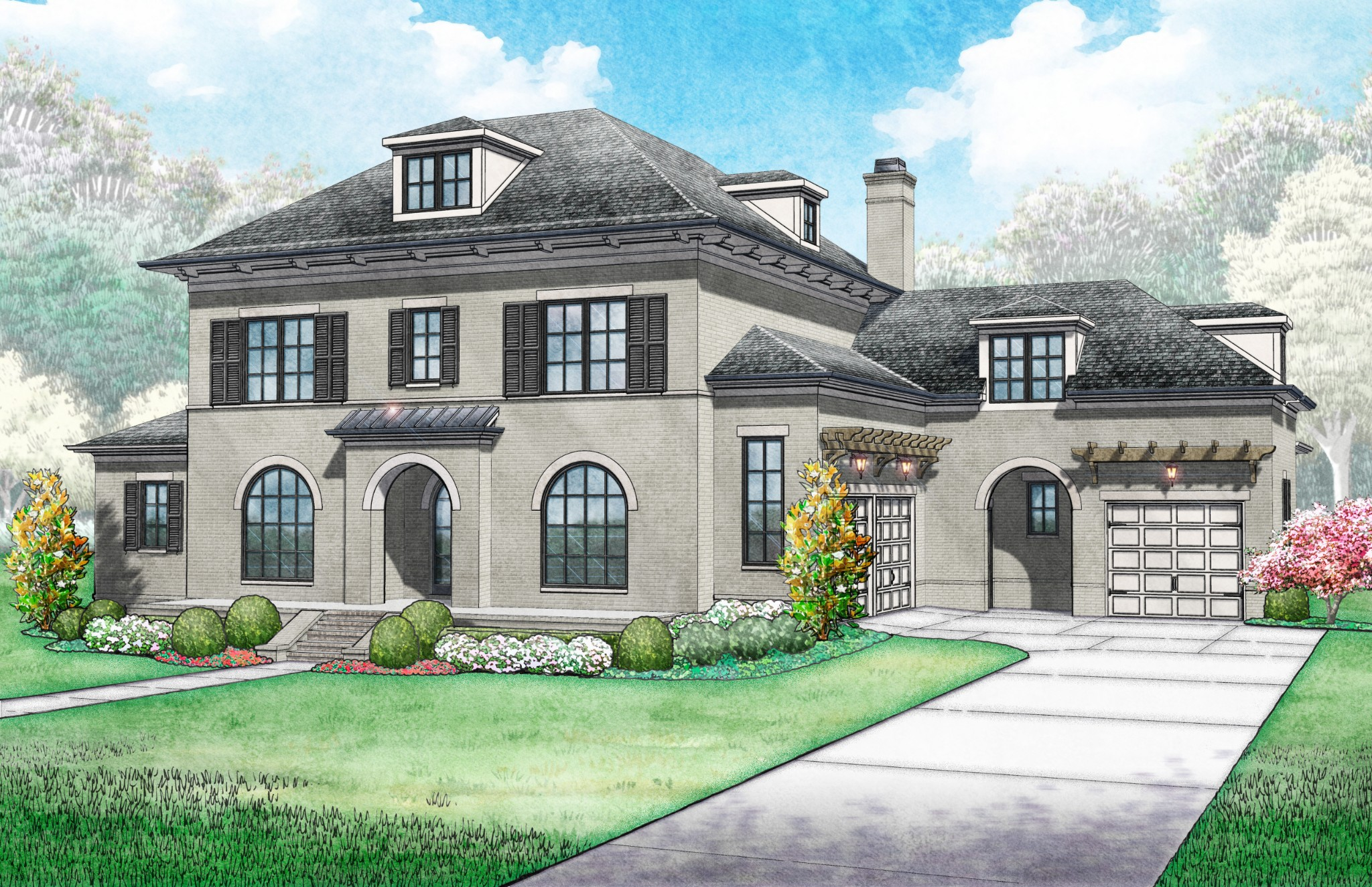 This stately 4,731sq. ft. Ford Classic Homes, w/ magnificent master bedroom w/ vaulted ceiling and large walk-in closet. Terrific floor plan w/ 2 bedrooms and a study on the main level & 2 ensuite bedrooms + bonus room & a game room on the 2nd level, w/ unfinished future expansion space over the garage. Open/Great Room living, dining and exquisite kitchen are perfect for entertaining and lead to two covered porch areas, with wood burning fireplace outside.