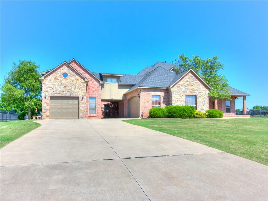 Fabulous Edmond home has everything you are looking for. This home features 5 bedrooms, 3 1/2 bath, media room,a study, 2 dining areas and 2 living areas and a beautiful oasis in the backyard AND an 1100 sf( approx.) apartment that has 1 bedroom, bathroom, kitchenette and large living room, perfect for a college student or airbnb. Kitchen with island that is attached to 2 dining areas. large open living area .The media room comes with media equipment and theater seating.Master suite is very large with sitting area and 2 walk in closets, double vanities , jacuzzi tub and walk in shower.The secondary bedrooms are all over sized. There is also a mud room off the garage that has a storm shelter. There is an additional 1100sf garage area that is being used as a warehouse that could easily be turned back into a 2 car garage. The apartment has brand new carpet, paint, granite and shower, there is also a walk in closet.  Apartment square footage is NOT included in Sf, which makes  it 102 a sf.