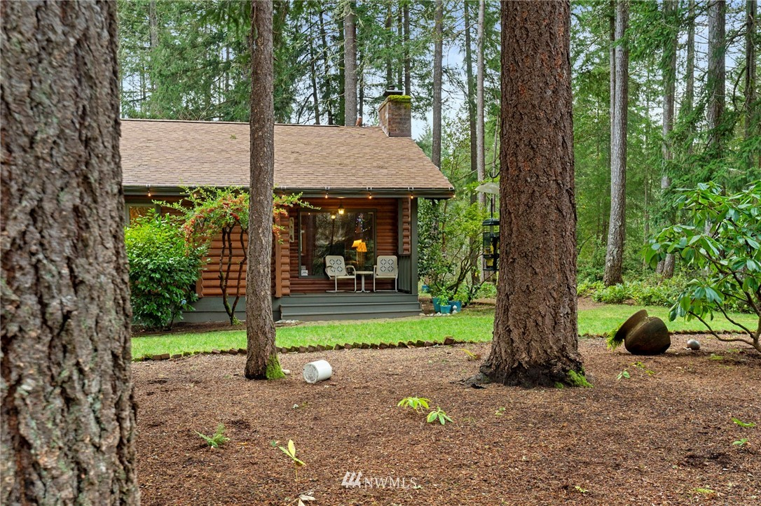 If ever there were a place that radiates warmth like your favorite blanket, comfort like your favorite jeans, & harmony that seems nearly impossible these days to find, it is here!  A storybook single level cabin on 2+ acres of fully fenced space to roam, create, & relax.  Impeccably maintained down to each log inside & out including new roof, heating/AC system, appliances, & more.  Just the right size with 2 spacious bedrooms, baths, & office.  The kitchen will inspire your inner chef.  The yard is your giant canvas to paint with nature.  For furry friends it's Disneyland. Evening sunsets are magical! Backs to Trophy Lake Golf Course, McCormick Woods, & miles of trails.  FINALLY - YOU'RE HOME!