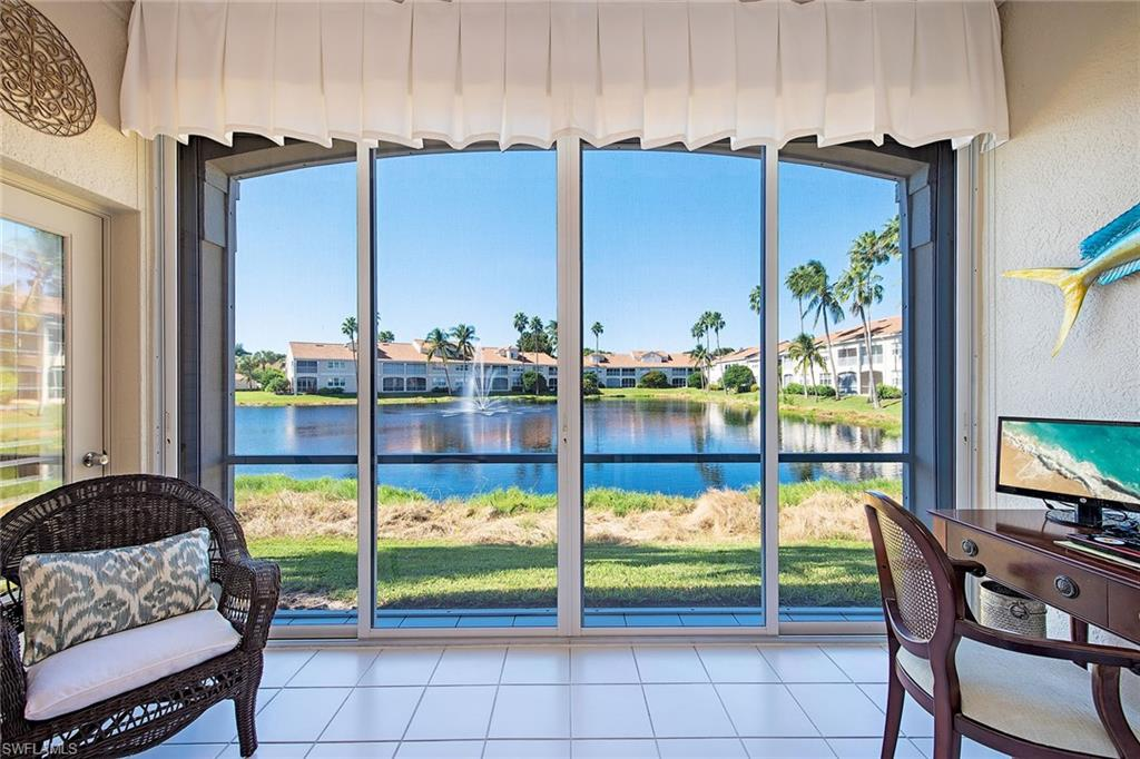 Brand new listing in Avalon, a great Pelican Bay community professionally managed, resort-style swimming pool and clubhouse close to trams and community center. The most immaculate condominium you could possibly see, everything has been updated and white-glove cared for. When you walk through the door be dazzled by amazing wide water views with a lighted fountain, this is seen from all the floor-to-ceiling glass in the living areas. Lanai is glassed in to include a den in your living area. A must-see as this is the best opportunity to own in Pelican Bay, Southwest Florida's most desirable community. Three miles of white sand on your own private beach, 5-star restaurants, tennis courts, state-of-the-art fitness center, and miles of biking and walking paths. All of this is minutes to incredible shopping, restaurants, and performing arts center. A lovely move-in home complete with an attached garage, it features the best of Florida living, won't last.