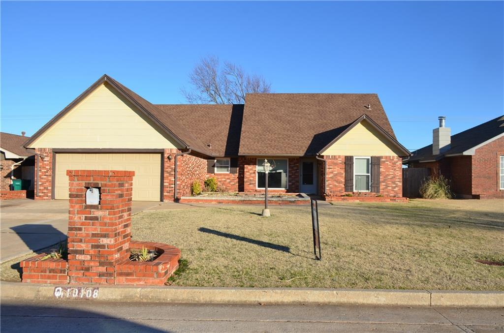 Do you have a large family or need lots of space? Do you love to swim and entertain? Spacious home with 4 bedrooms and a bonus room that could be used for 5th bedroom if needed! Granite countertops in kitchen with stainless steel appliances and refrigerator stays.  Large master with double sinks tub/shower  HVAC units (2) are about 6-7 years old and Roof is only 4 years old. Downstairs carpet is less than a year old. In-ground diving chlorine pool with brand new pump and vinyl liner - Cover is only 3 years old. Great location and YUKON schools! Easy to see!