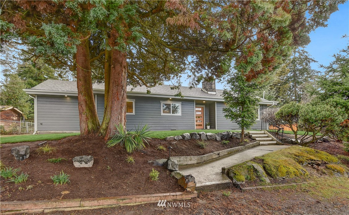 Stunning mid century modern in Normandy Vista. White oak floors welcome you to this open floorplan with beautiful new kitchen featuring quartz countertops and SS appliances, situated next to dining room w/french doors to patio and newly fenced backyard. New roof, electric and plumbing are just a few of the updates w/a new addition that features the master bedroom w/french doors to patio. New windows, siding and soffit lighting make this corner lot home the envy of the neighborhood. Plenty of off-street parking and newly poured driveway.