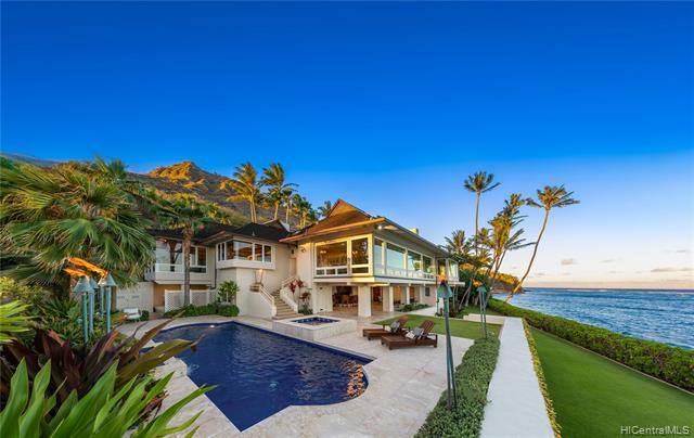 PERFECTION BY THE SEA - Idyllic & highly acclaimed, this prized oceanfront residence in Diamond Head offers over 9,000 SF of luxury living w/ incomparable views, 3 stories w/ elevator, 6 Bedrooms, 7.5 Baths on over a 1/2 acre of land w/183 linear ft of ocean frontage. Through a gated circular entry, you'll drive into the stately porte-cochère with dual, 2-car garages revealing a lush green grotto, cascading water features & an impeccably designed estate redefining luxury living. You will enjoy gorgeous view-filled rooms overlooking sweeping ocean vistas & verdant lawns. The oceanfront pool/spa is surrounded by palms, tropical foliage & cascading water features. The serene grounds also feature access leading to the sea & sandy shoreline. This is the very best in island oceanfront living!