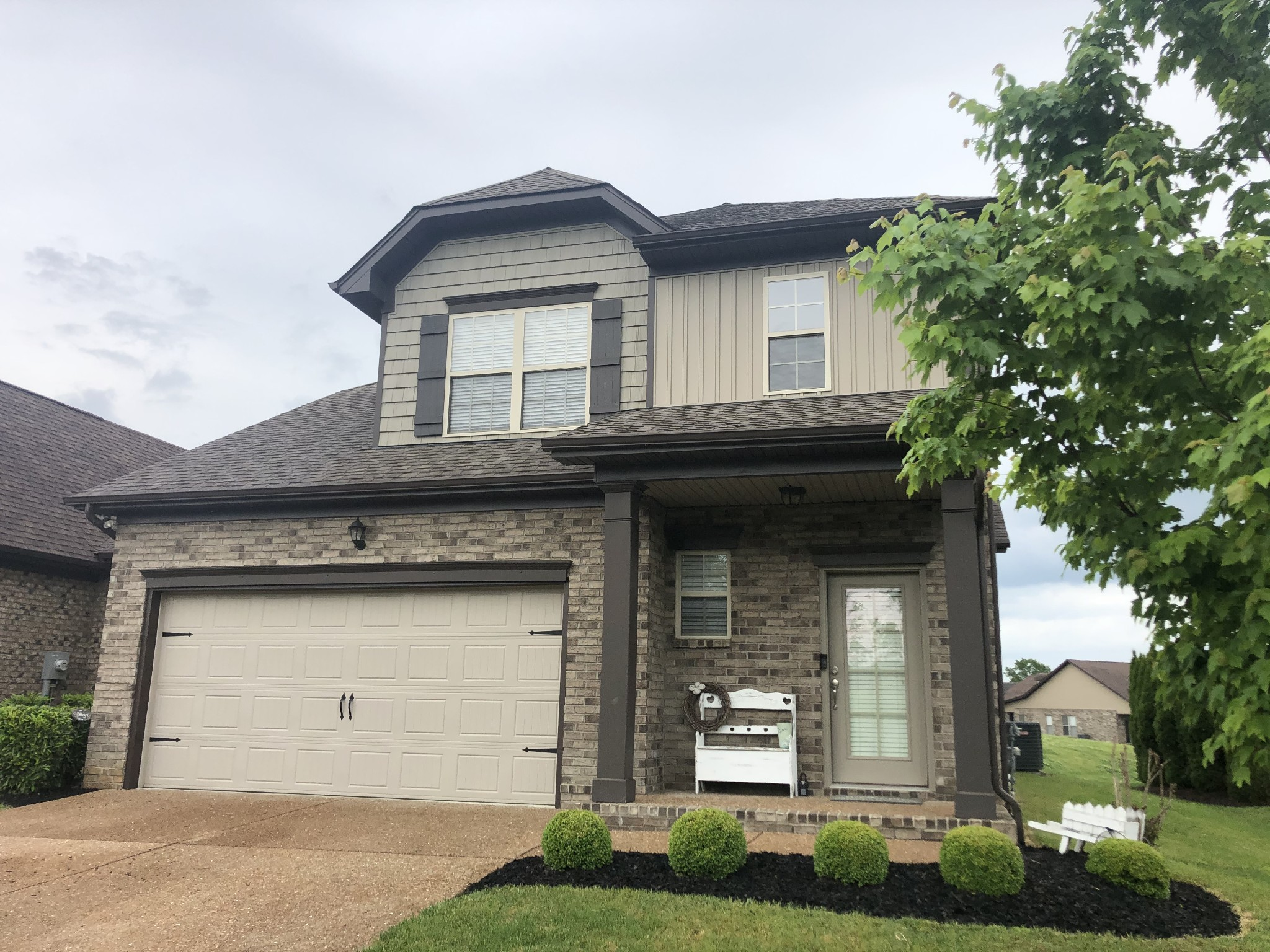 Beautiful home with a mixture of finished wood, tile and carpets downstairs. Master Suite downstairs with separate tub & shower with double vanities. Open bonus area upstairs with two bedrooms and a full bath. There is also attic storage in the bedroom closets.