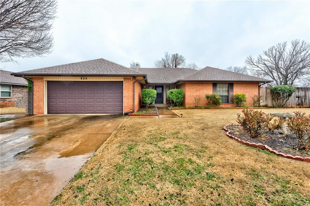 New Carpet and Paint through majority of home.  Updated kitchen cabinetry, sunken living room with vaulted ceiling, covered patio, privacy fenced above ground pool lined in early October of 2019.  Shed with pool accessories included.  Privacy fenced back yard in a culdesac in Moore school district.  Washer, dryer, and refrigerator included in home.  Move in ready family home in the Moore school district.  Come see this home in a great location.  It won't last long.
