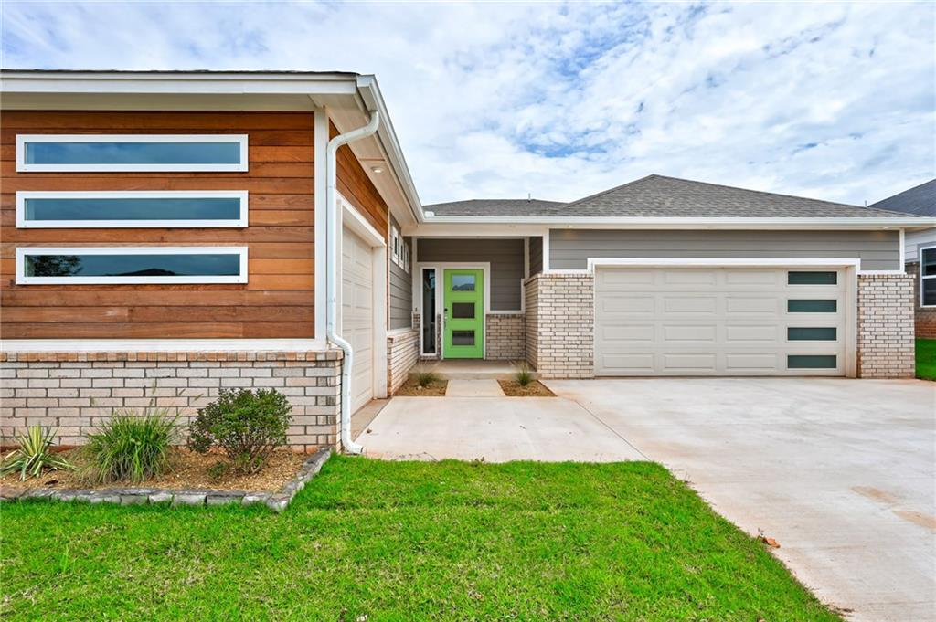 Builder Special: Storm Shelter + $5,000 towards closing costs w/preferred lender, if in contract by Oct 31, 2019. This stylishly modern home in Chisholm Creek Farms features a flexible study or formal dining space, 3 full bedrooms, and a 3Car Garage.An open concept gives you the flow of the main living spaces together as one. The kitchen provides a large quartz clad island, the adjoining dining space & living both offer views to the backyard, and a sleek linear fireplace adorns the wall in the living room for that added special touch. A stunning wood look tile has been installed in the main areas. The master suite in this home gives added privacy & serene relaxation with the contemporary master bathroom, quartz covered vanity, large designer tiles, & spacious closet. Green features are included, such as Low E windows, LED lighting, tankless hot water heater, & much more! Get a feel for this open and welcoming home in person, and check out the community's proximity to local amenities.