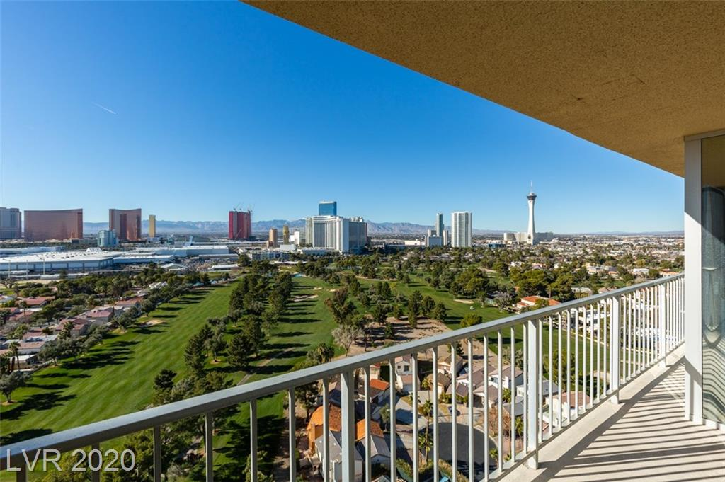 High Rise living within the gates of the prestigious Las Vegas Country Club! This 22nd floor unit located in the highly desirable Regency Towers can be accessed from one of 3 guard gated entrances.  Facing West, views of the Strip, Mountains and Las Vegas Country Club Golf Course can be enjoyed from the large terrace.  This bright 2 bedroom unit is a must see!