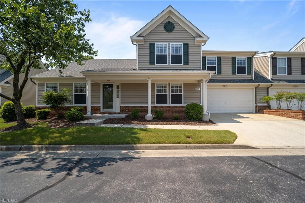 Are you looking for a gorgeous home located in Chesapeake.  This home shows pride of ownership!  This 3-bedroom 2.5-bathroom home is over 2,200 SF with a two-car garage.  Hardwood laminate flooring throughout the main floor.  First floor primary suite with tray ceilings, his and hers closets, on-suite bathroom with jetted tub and separate shower with dual vanities.  The kitchen opens up to the family room that includes a gas fireplace and a built in entertainment center.  Kitchen has granite countertops and all stainless-steel appliances.  Separate formal living room and private office with French doors.  Colossal bedroom over the garage with cathedral ceilings with walk-in attic storage!  Beautiful backyard patio with retractable awning providing shaded entertaining space.  Spacious two car garage includes overhead shelves, five storage cabinets and a workbench with overhead lighting.  Come see this home today!