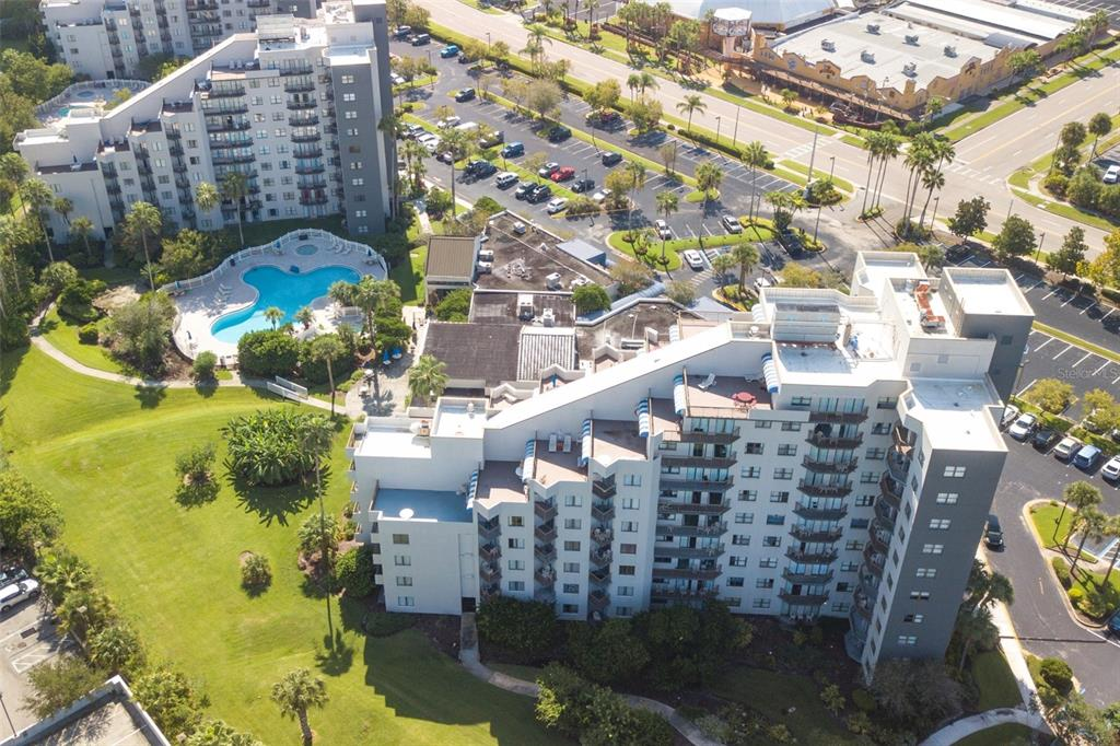 Check out this condo / hotel style unit in the heart of the Orlando tourist area. Just off International Drive, you will be immersed in theme parks, water park, malls, convention center, outlet shopping, dining and plenty of entertainment. Easy access around town with nearby I4, 528 and Florida Turnpike. Lots of INVESTMENT potential! This elegantly styled studio unit comes fully furnished. Kitchenette area features natural granite counter tops, attached microwave, small cook top, dishwasher and mini fridge. Studio has a bed, love seat, bar stools and entertainment console to accommodate guests during their stay. Tile flooring throughout. You will absolutely love the ENOURMOUS terrace balcony with views of some the near by attractions. The resort as everything you need including a two outdoor sparkling pool, indoor pool, jacuzzi, 24hr front desk check-in / out services, small market place for quick travel needs, fitness center, business center, laundry area and playground. Don't miss out on this great opportunity. *Buyer has to be flexible with closing period of 75 plus days*