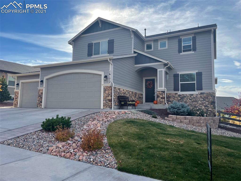 Perfect 2-story home located on a cul-de-sac in the very popular Promontory Pointe sub division. Breathtaking views of Pikes Peak and of the entire Front Range! This 5 bedroom, 4 bath, 3-car garage home is very spacious and open floor plan. The deck is right off the kitchen/dining room with views of Pikes Peak and The Air Force Academy. Open office/den and family room on the main floor. Large master bedroom with adjoined 5-piece bathroom and walk in closets on the upper level plus 2 more bedrooms, a full bath, and large laundry room. Basement has a large rec room area perfect for entertaining as well as 2 spacious bedrooms, and a full bath. Lewis Palmer School District 38, close to walking paths, restaurants, shopping, The Air Force Academy, and I-25. Home is move-in ready!