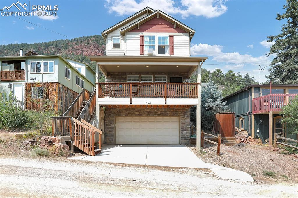 If you're looking for a quiet mountain location but want to enjoy the conveniences of living near town, look no further! This 2-story home sits upon a hill in the Glen Park area of Palmer Lake, nestled against the foothills. Enjoy sweeping views of Palmer Lake and the Front Range from the covered deck. You'll be in awe of the glittering starry night skies from the xeriscaped back yard. The main level features an open floor plan with a large kitchen island, gas range/oven, gas fireplace, and lots of storage. Covered front deck also has a gas hookup for a grill. The upper level primary bedroom is spacious with vaulted ceilings, an adjoining full bathroom, walk-in closet, and an extra nook that would make a great office or sitting area with access to the back yard. The upper level has an additional guest bedroom and full bathroom, both with stellar views of the area. The basement features a bonus room, laundry space, powder room, and access to the 2-car garage. Close to several hiking trails, Glen Park for the playground, tennis courts, and walking paths, and within a few minutes of restaurants, shops, and Palmer Lake Elementary School. Easy commute to Colorado Springs or Denver. Award winning D38 School District. Don't delay - come see this home today!