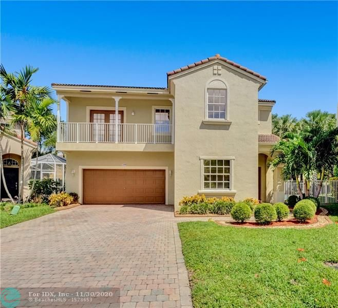 This gorgeous 4 bed/3 bath POOL home located on a quiet cul-de-sac is the largest model in the desirable gated community of Vizcaya in Coral Springs. 1 bedroom + 1 full bathroom on 1st floor and upstairs are the master bedroom, 2 other bedrooms plus A HUGE PLAYROOM (can enclose to make 5th bedroom). Screened in patio with covered area, perfect for entertaining + a gorgeous pool with removable baby gate and fenced in yard. Home features crown molding, updated bathrooms, spacious kitchen with granite countertops, wood cabinets, Stainless Steel appliances, hurricane protection on all windows, rock wall with fireplace in living room, bamboo laminate floors, newer AC and water heater & more! Low HOA includes cable, alarm, landscaping, community pool, hot tub, gym! Excellent location & schools!
