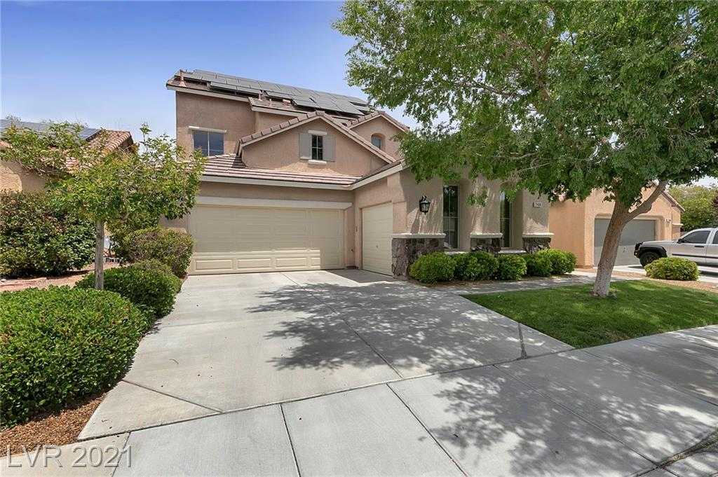 Beautiful home in Anthem Coventry - a Highly Desirable Neighborhood (ask your agent about Coventry events).  Big Backyard complete w/an Inviting Pool & Spa! Enjoy Beautiful Mountain, City & some Strip Views from your private primary bedroom balcony. Kitchen with Island and Stainless Steel Appliances.  Nice size Den on the First Floor and 2 Family Rooms (one on the 3rd Floor). Solar Panels are owned - BIG Savings on the electric bill. MOVE IN READY!