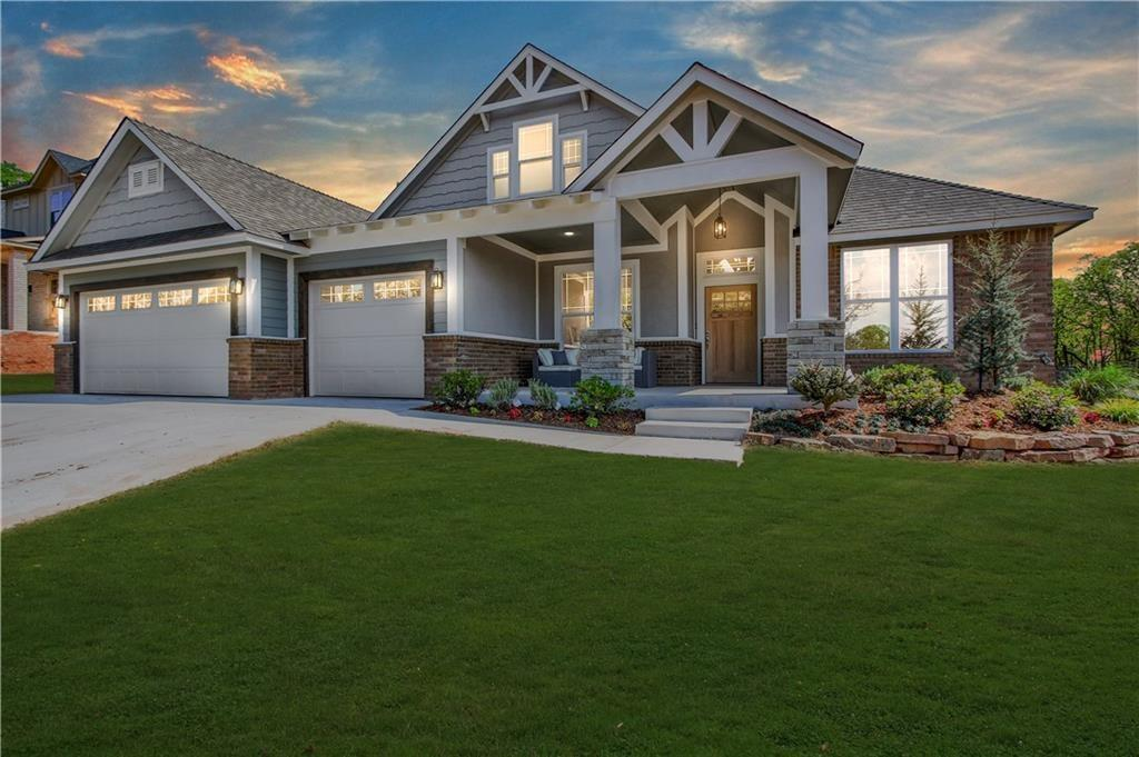 Absolutely Stunning! Fabulous curb appeal! Grand entry, open concept living room with floor to ceiling stacked stone fireplace and a kitchen full of beautiful finishes. You'll love the Modern Farmhouse sink and lighting. The dining room is spacious for those large farm tables. Right off the entry is a beautiful study with giant glass doors, a closet for office supplies, and plenty of room to get work done in style! The master suite has a beautiful tray ceiling and connects to the master bath featuring a double vanity, jetted tub, HUGE tiled shower with rain head and wall head. Don't forget over sized walk-in master closet! Upstairs is a Bonus Room and full bath which could also be a 4th Bedroom with a large closet and a lot of storage. You get all of this on a large, wooded lot with an extra large covered patio and outdoor fireplace! The Builder already installed the storm shelter, sprinkler system, both garage door openers, and full guttering. Ask about adding an outdoor kitchen!