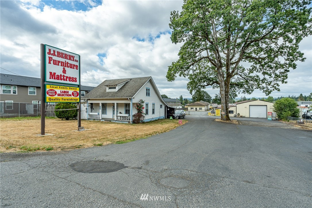Prime South Chehalis Commercial/Industrial location.  Presently used as retail.  Over 2 acres of land with 17,000 sq ft of building space, with room to expand.  Heating, cooling, loading docks are all ready for your business.  Includes 2 rental homes for extra income.